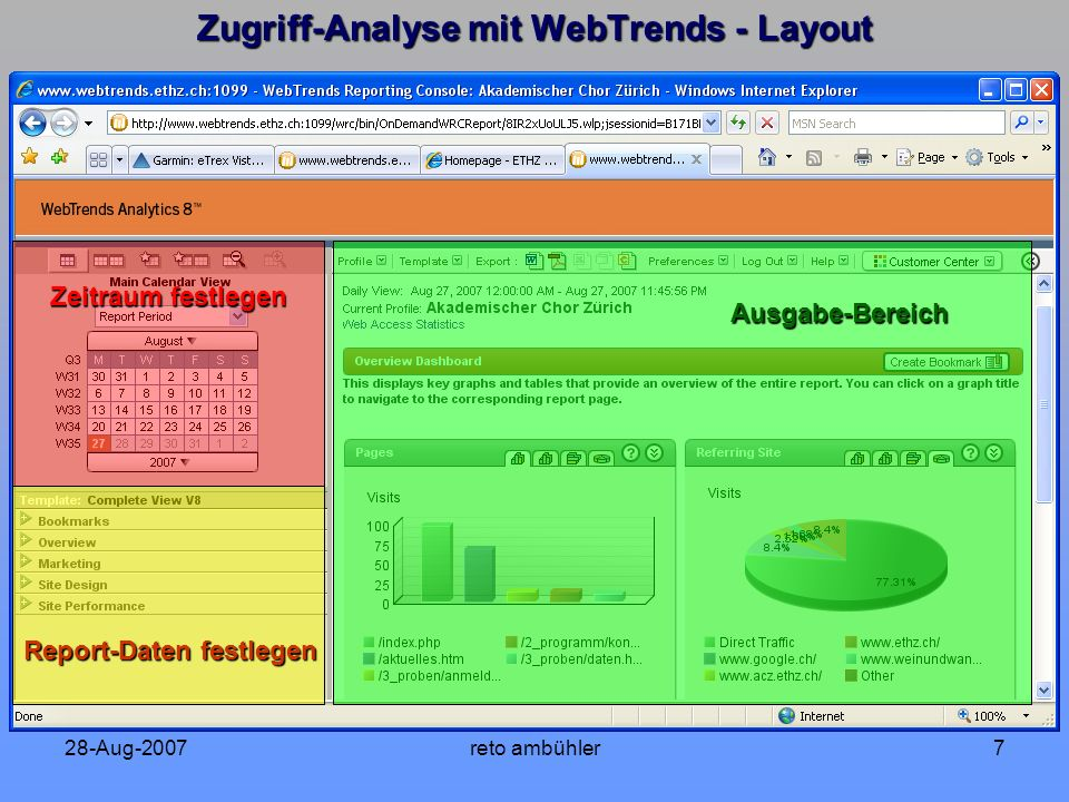 28-Aug-2007reto ambühler7 Zugriff-Analyse mit WebTrends - Layout Zeitraum festlegen Report-Daten festlegen Ausgabe-Bereich