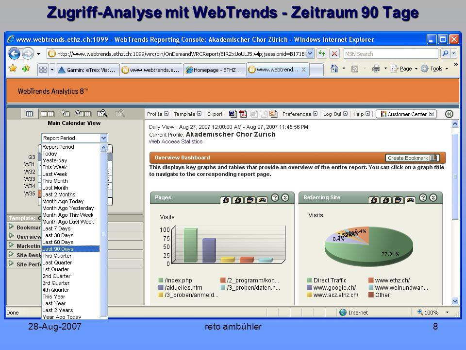 28-Aug-2007reto ambühler8 Zugriff-Analyse mit WebTrends - Zeitraum 90 Tage