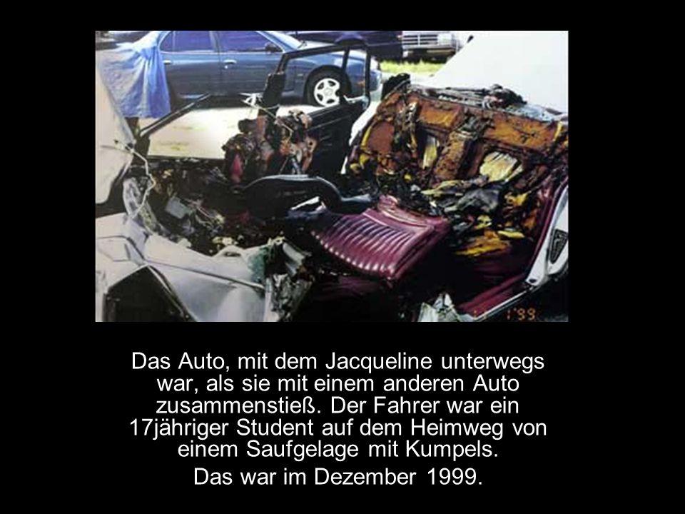 Das Auto, mit dem Jacqueline unterwegs war, als sie mit einem anderen Auto zusammenstieß. Der Fahrer war ein 17jähriger Student auf dem Heimweg von ei