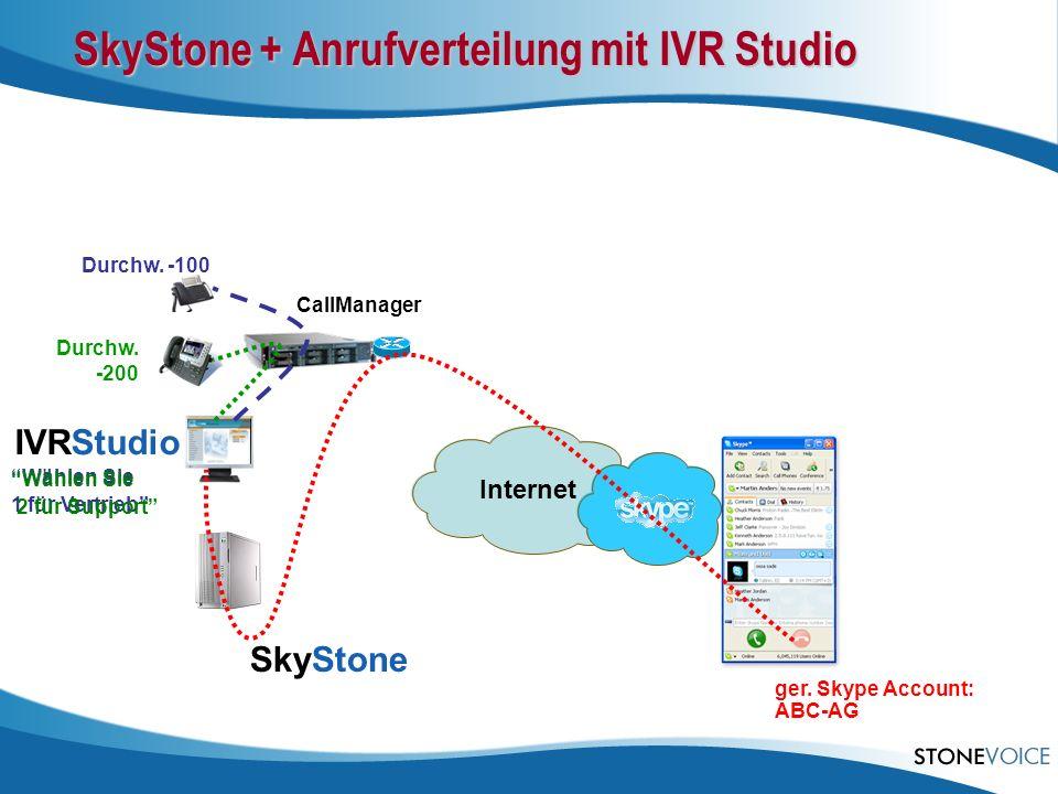 SkyStone + Anrufverteilung mit IVR Studio CallManager SkyStone IVRStudio ger. Skype Account: ABC-AG Durchw. -200 Wählen Sie 1 für Vertrieb Durchw. -10