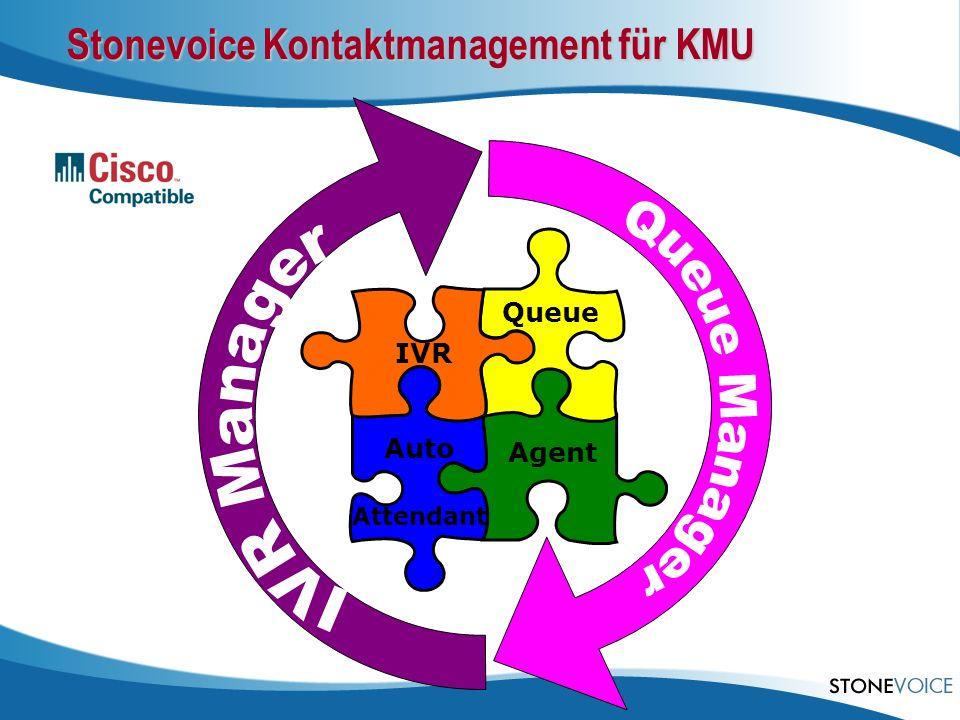 Agent Queue IVR Auto Attendant Stonevoice Kontaktmanagement für KMU