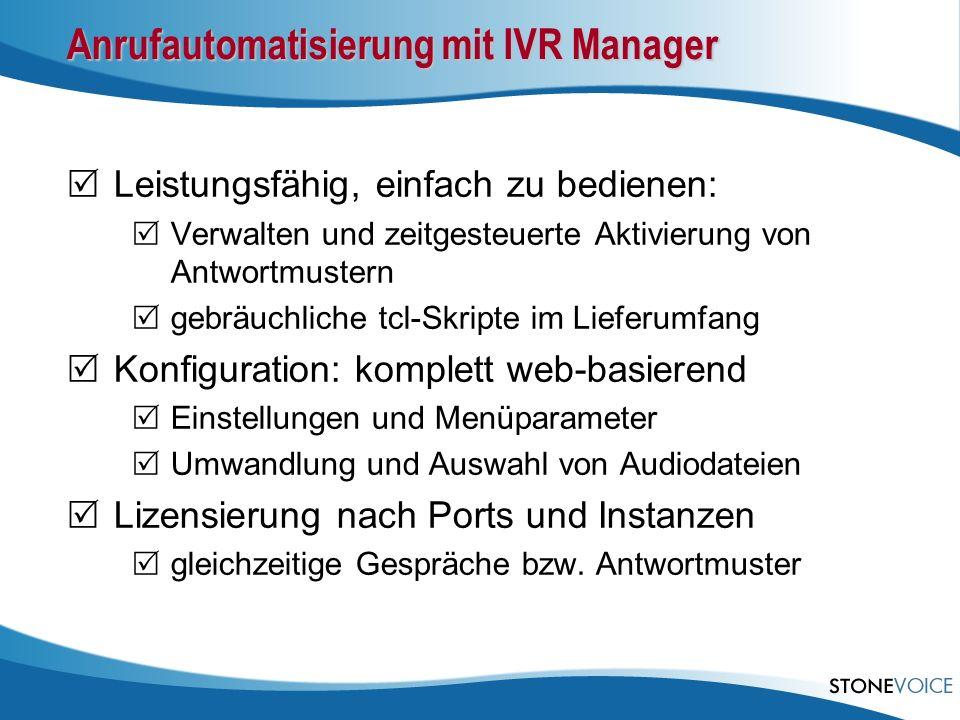 Anrufautomatisierung mit IVR Manager Leistungsfähig, einfach zu bedienen: Verwalten und zeitgesteuerte Aktivierung von Antwortmustern gebräuchliche tc