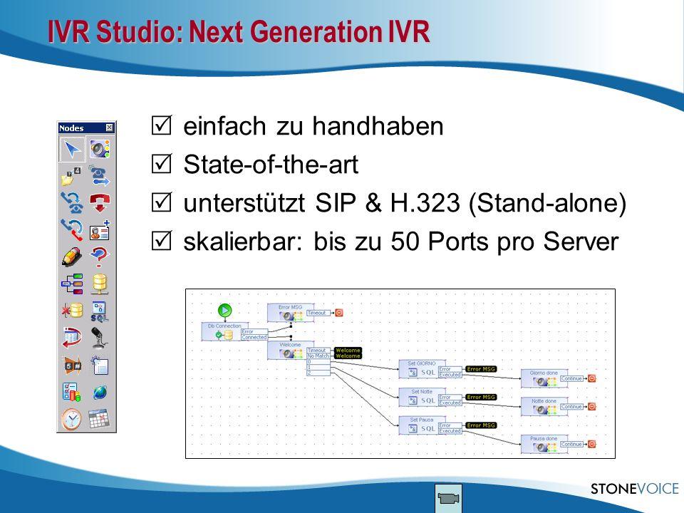 IVR Studio: Next Generation IVR einfach zu handhaben State-of-the-art unterstützt SIP & H.323 (Stand-alone) skalierbar: bis zu 50 Ports pro Server