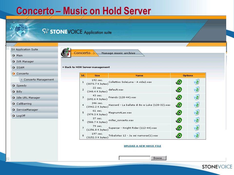 Concerto – Music on Hold Server Warteschleifen-Musik (MoH) für Cisco CallManager Express Beliebige.wav und.mp3-Dateien Konvertierung von Audio-CDs Web