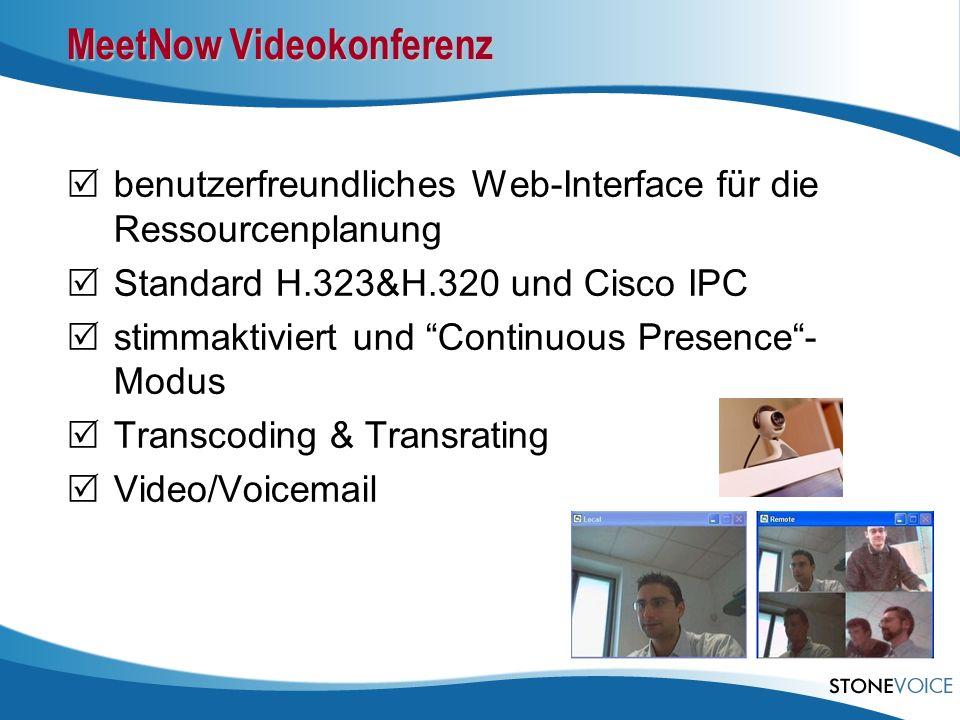 benutzerfreundliches Web-Interface für die Ressourcenplanung Standard H.323&H.320 und Cisco IPC stimmaktiviert und Continuous Presence- Modus Transcod