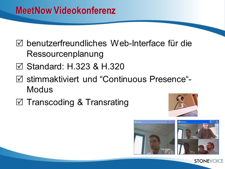 benutzerfreundliches Web-Interface für die Ressourcenplanung Standard: H.323 & H.320 stimmaktiviert und Continuous Presence- Modus Transcoding & Trans