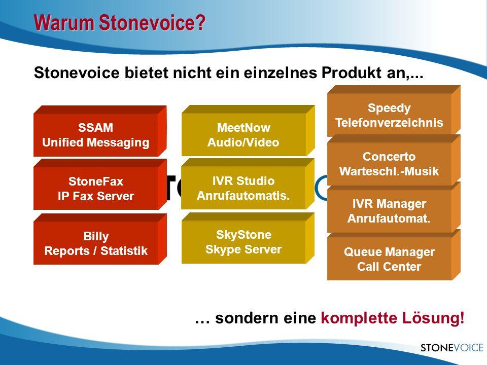 Warum Stonevoice? Stonevoice bietet nicht ein einzelnes Produkt an,... … sondern eine komplette Lösung! Queue Manager Call Center SSAM Unified Messagi