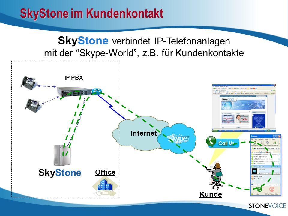 Internet IP PBX SkyStone verbindet IP-Telefonanlagen mit der Skype-World, z.B. für Kundenkontakte Office SkyStone Kunde SkyStone im Kundenkontakt
