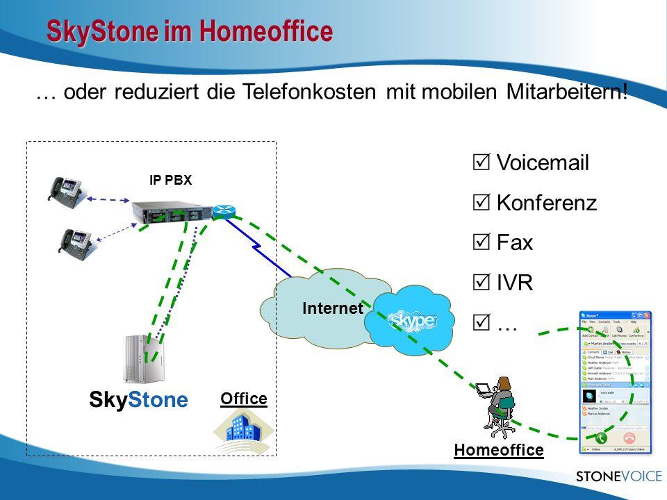 Internet IP PBX … oder reduziert die Telefonkosten mit mobilen Mitarbeitern! Office SkyStone Homeoffice Voicemail Konferenz Fax IVR … SkyStone im Home