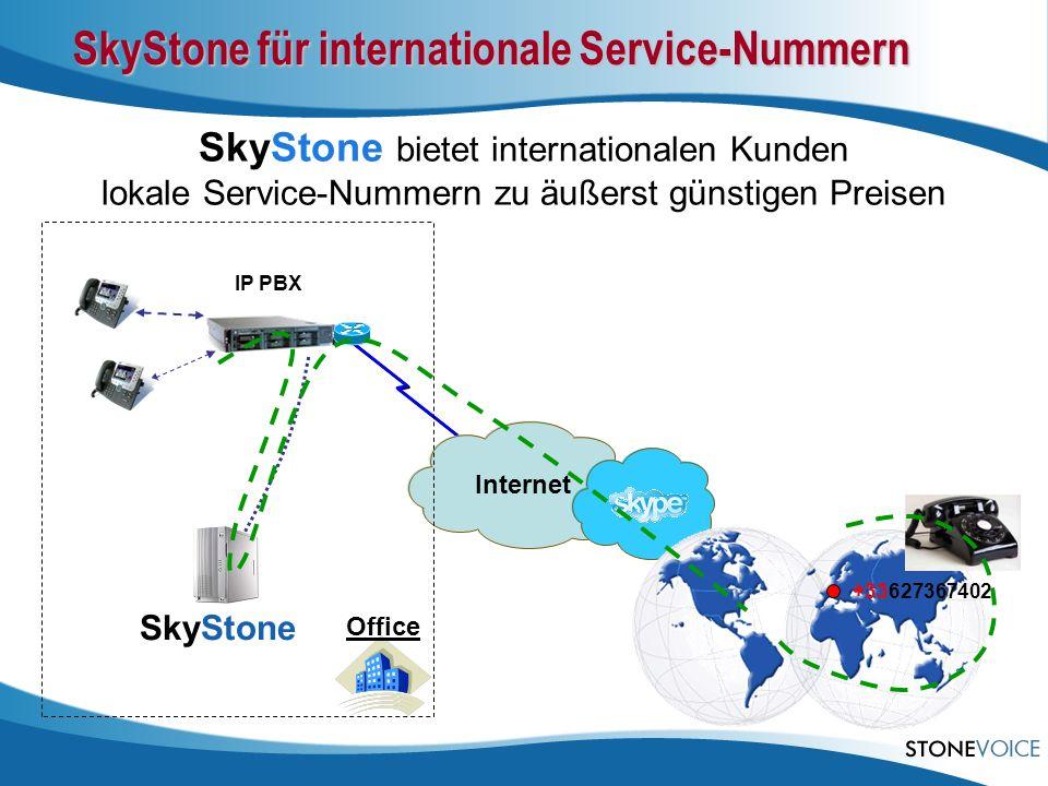Internet IP PBX Office SkyStone SkyStone bietet internationalen Kunden lokale Service-Nummern zu äußerst günstigen Preisen SkyStone für internationale