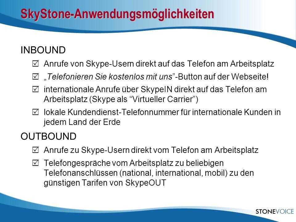 SkyStone-Anwendungsmöglichkeiten INBOUND Anrufe von Skype-Usern direkt auf das Telefon am Arbeitsplatz Telefonieren Sie kostenlos mit uns-Button auf d