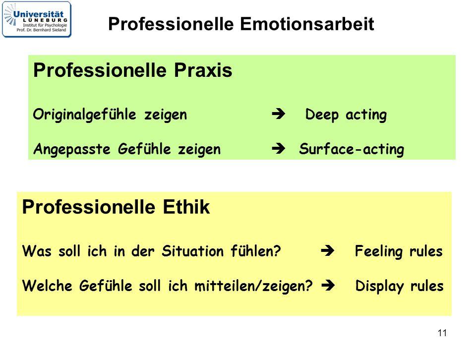 11 Professionelle Praxis Originalgefühle zeigen Deep acting Angepasste Gefühle zeigen Surface-acting Professionelle Emotionsarbeit Professionelle Ethi