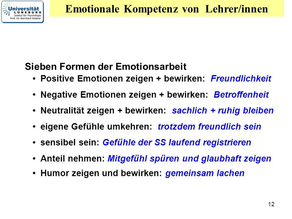 12 Sieben Formen der Emotionsarbeit Positive Emotionen zeigen + bewirken: Freundlichkeit Neutralität zeigen + bewirken: sachlich + ruhig bleiben eigen