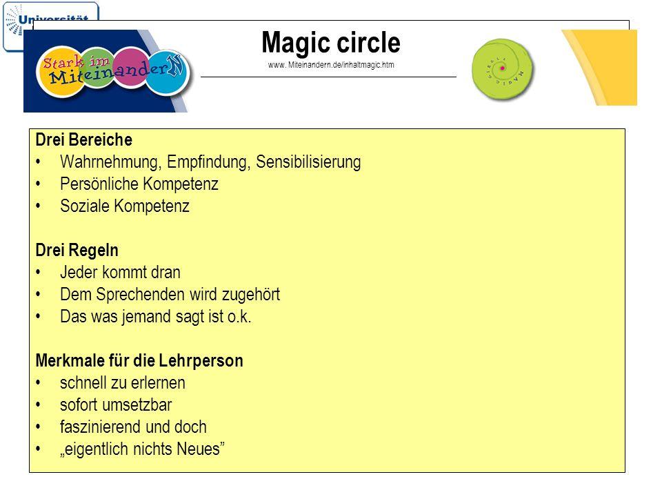 16 Magic circle www. Miteinandern.de/inhaltmagic.htm Drei Bereiche Wahrnehmung, Empfindung, Sensibilisierung Persönliche Kompetenz Soziale Kompetenz D
