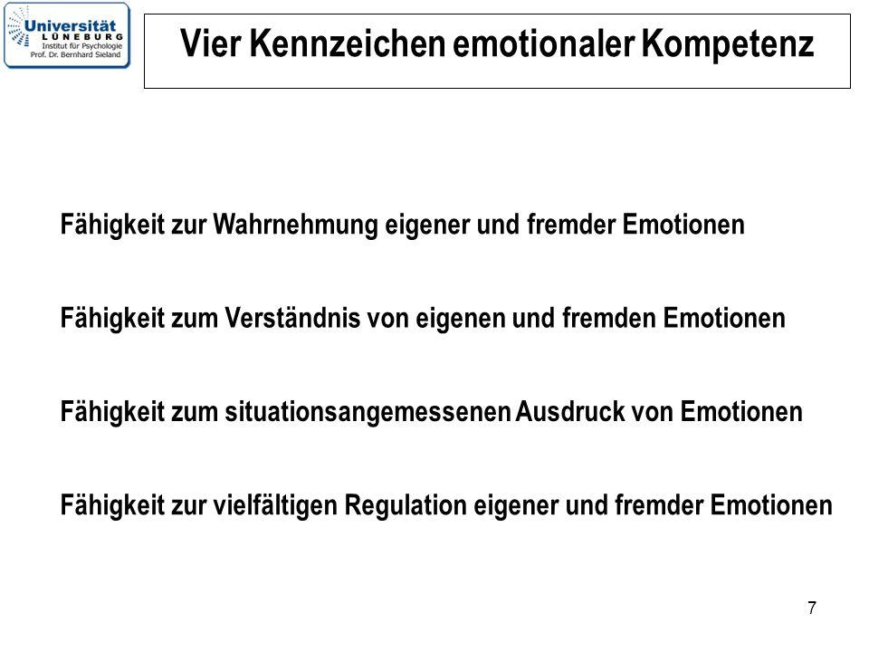 7 Vier Kennzeichen emotionaler Kompetenz Fähigkeit zur Wahrnehmung eigener und fremder Emotionen Fähigkeit zum situationsangemessenen Ausdruck von Emo
