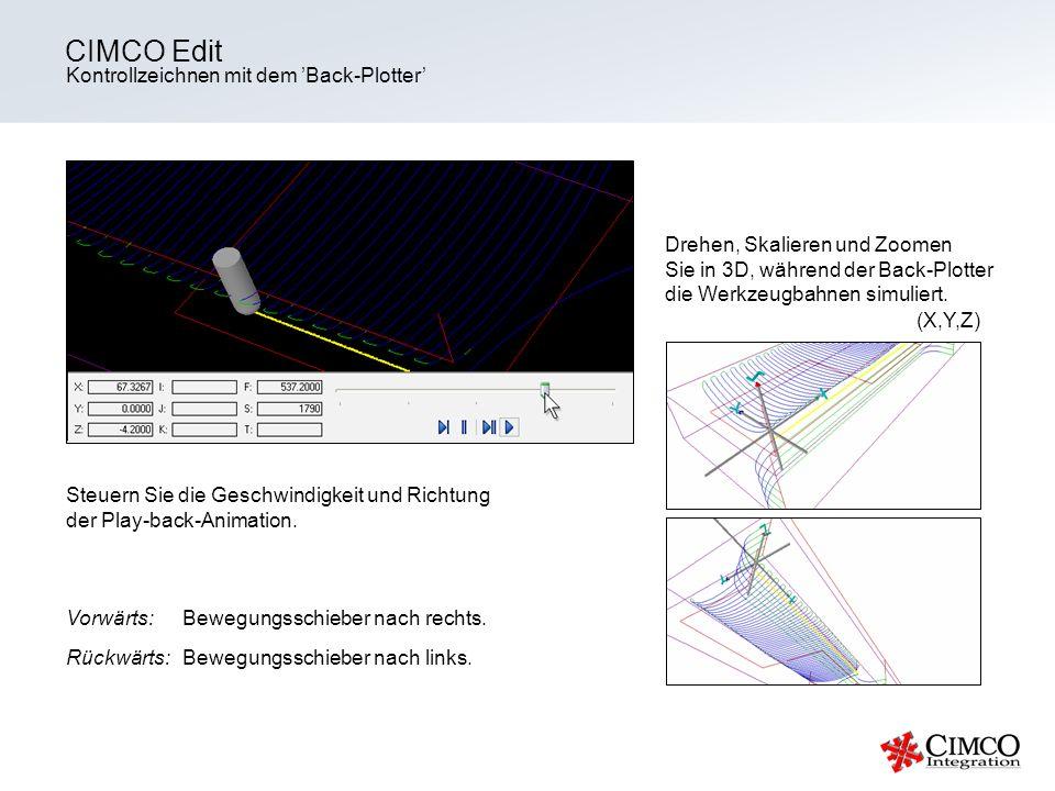 Kontrollzeichnen mit dem Back-Plotter CIMCO Edit Steuern Sie die Geschwindigkeit und Richtung der Play-back-Animation. Vorwärts: Bewegungsschieber nac