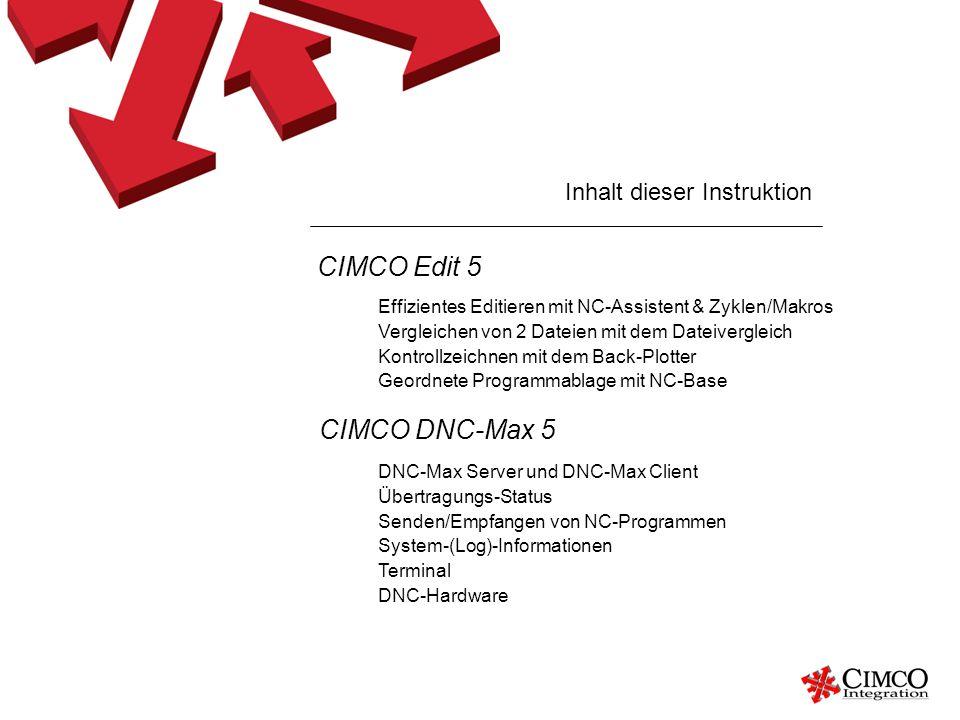 Inhalt dieser Instruktion Effizientes Editieren mit NC-Assistent & Zyklen/Makros Vergleichen von 2 Dateien mit dem Dateivergleich Kontrollzeichnen mit