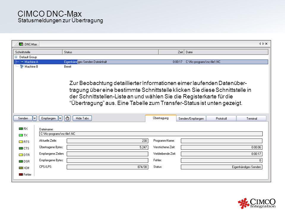 Statusmeldungen zur Übertragung CIMCO DNC-Max Zur Beobachtung detaillierter Informationen eimer laufenden Datenüber- tragung über eine bestimmte Schni