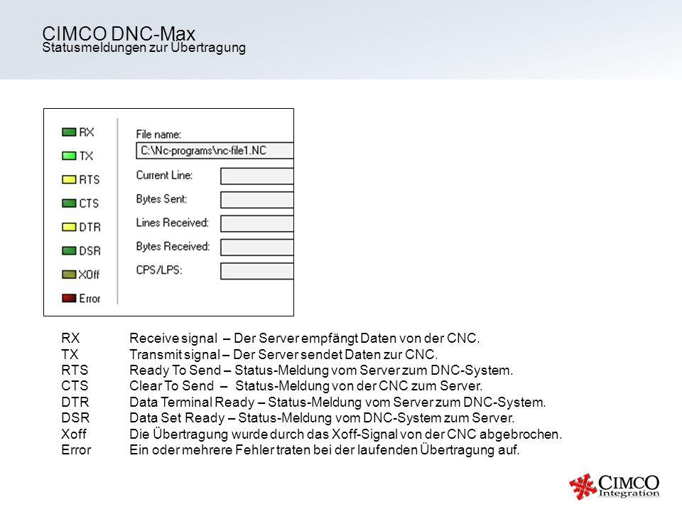 Statusmeldungen zur Übertragung CIMCO DNC-Max RXReceive signal – Der Server empfängt Daten von der CNC. TX Transmit signal – Der Server sendet Daten z