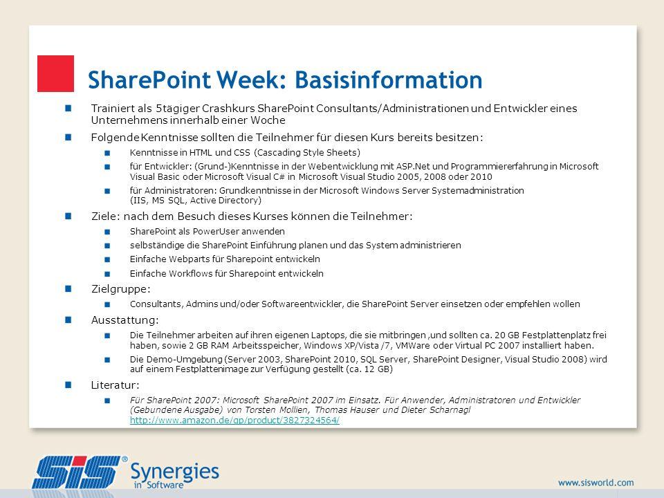 SharePoint Week: Basisinformation Trainiert als 5tägiger Crashkurs SharePoint Consultants/Administrationen und Entwickler eines Unternehmens innerhalb
