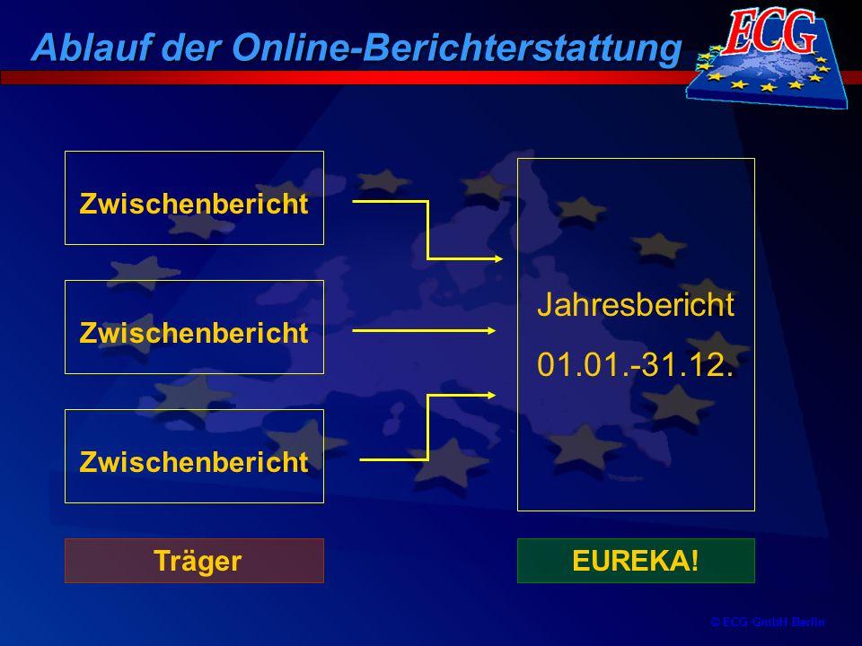© ECG GmbH Berlin Zwischenbericht Zwischenbericht Zwischenbericht Jahresbericht 01.01.-31.12. TrägerEUREKA! Ablauf der Online-Berichterstattung