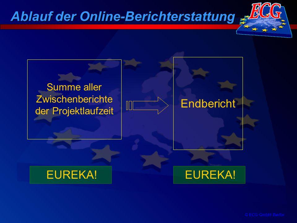 © ECG GmbH Berlin Summe aller Zwischenberichte der Projektlaufzeit Endbericht EUREKA! Ablauf der Online-Berichterstattung