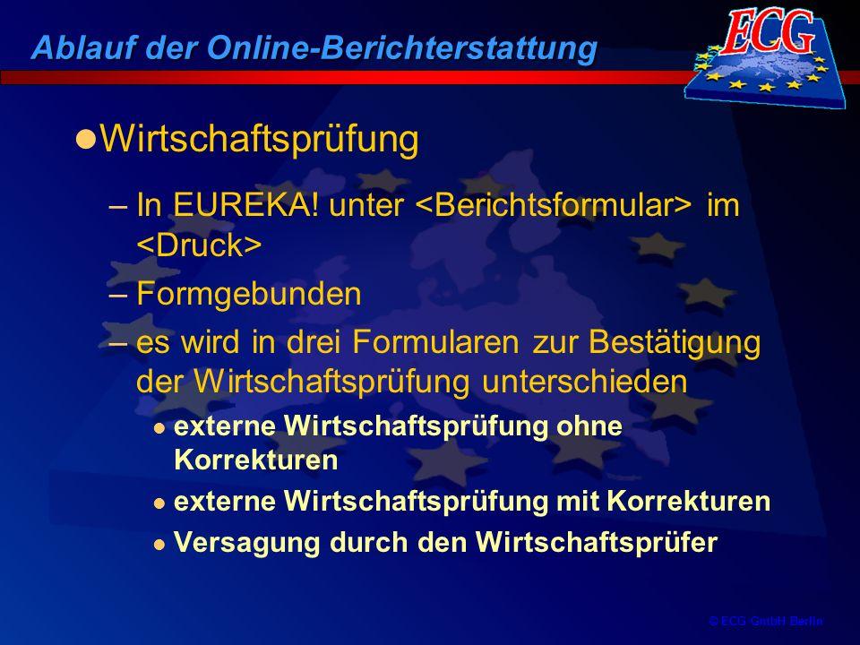 © ECG GmbH Berlin –In EUREKA! unter im –Formgebunden –es wird in drei Formularen zur Bestätigung der Wirtschaftsprüfung unterschieden externe Wirtscha