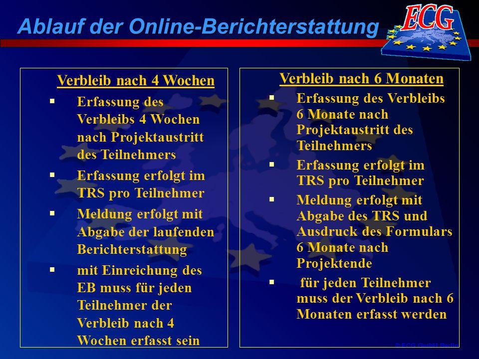 © ECG GmbH Berlin Verbleib nach 6 Monaten Erfassung des Verbleibs 6 Monate nach Projektaustritt des Teilnehmers Erfassung erfolgt im TRS pro Teilnehme