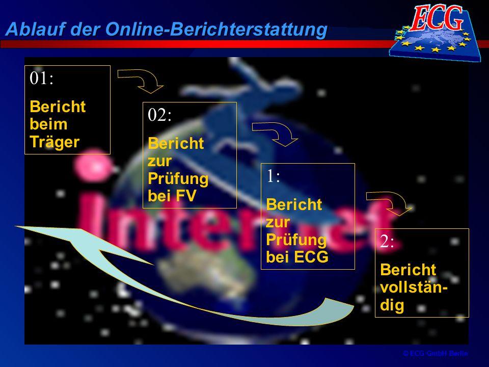 © ECG GmbH Berlin Ablauf der Online-Berichterstattung 01: Bericht beim Träger 02: Bericht zur Prüfung bei FV 1: Bericht zur Prüfung bei ECG 2: Bericht