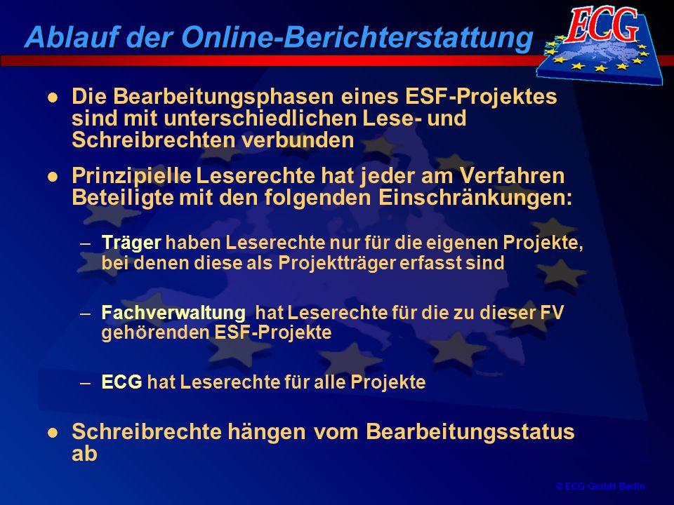 © ECG GmbH Berlin Die Bearbeitungsphasen eines ESF-Projektes sind mit unterschiedlichen Lese- und Schreibrechten verbunden Prinzipielle Leserechte hat