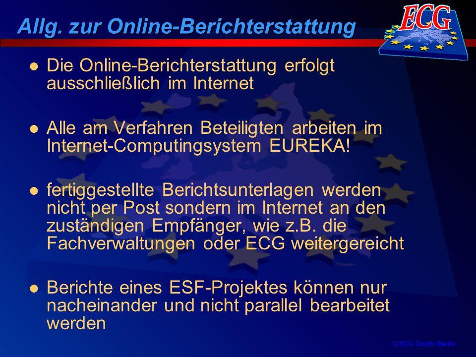 © ECG GmbH Berlin Ein bewilligtes ESF-Projekt mit Projekttyp Qualifizierung und einer Laufzeit über den 30.06.02 hinaus Die Berichterstattung ist Online nur dann möglich, wenn Fachverwaltung und Träger am Online-Verfahren teilnehmen (keine parallele Bearbeitung Offline-Online möglich) Vor Beginn der Online-Berichterstattung muss eine Freischaltung der ESF-Projekte bei ECG erfolgen, die Online bearbeitet werden sollen Projektbezogene Bearbeitung der angemeldeten Projekte ist in Online abzuschließen Inhaltliche Voraussetzungen