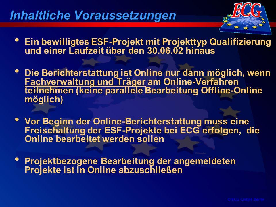 © ECG GmbH Berlin Ein bewilligtes ESF-Projekt mit Projekttyp Qualifizierung und einer Laufzeit über den 30.06.02 hinaus Die Berichterstattung ist Onli