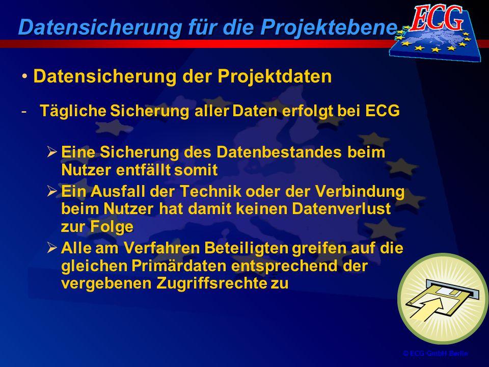 © ECG GmbH Berlin Bearbeitungsphasen Ein ESF-Projekt durchläuft verschiedene Online-Bearbeitungsphasen bei allen Beteiligten Der Bearbeitungszustand wird durch einen Status gekennzeichnet, der für jeden am Verfahren Beteiligten sichtbar ist Unterstützt wird der Bearbeitungsablauf durch E-Mail-Nachrichten bei Änderung eines Bearbeitungszustandes Ablauf der Online-Berichterstattung