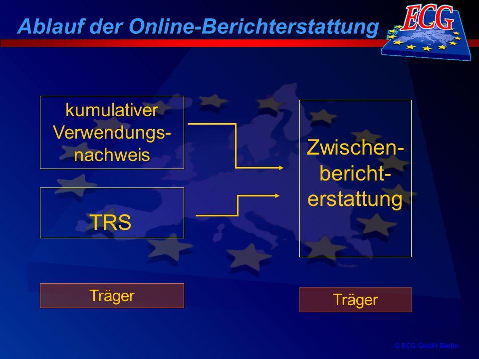 © ECG GmbH Berlin Ablauf der Online-Berichterstattung 01: Bericht beim Träger 02: Bericht zur Prüfung bei FV 1: Bericht zur Prüfung bei ECG 2: Bericht vollstän- dig