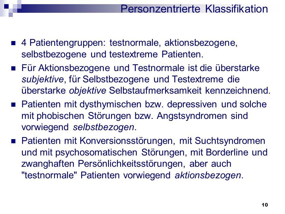10 Personzentrierte Klassifikation 4 Patientengruppen: testnormale, aktionsbezogene, selbstbezogene und testextreme Patienten. Für Aktionsbezogene und