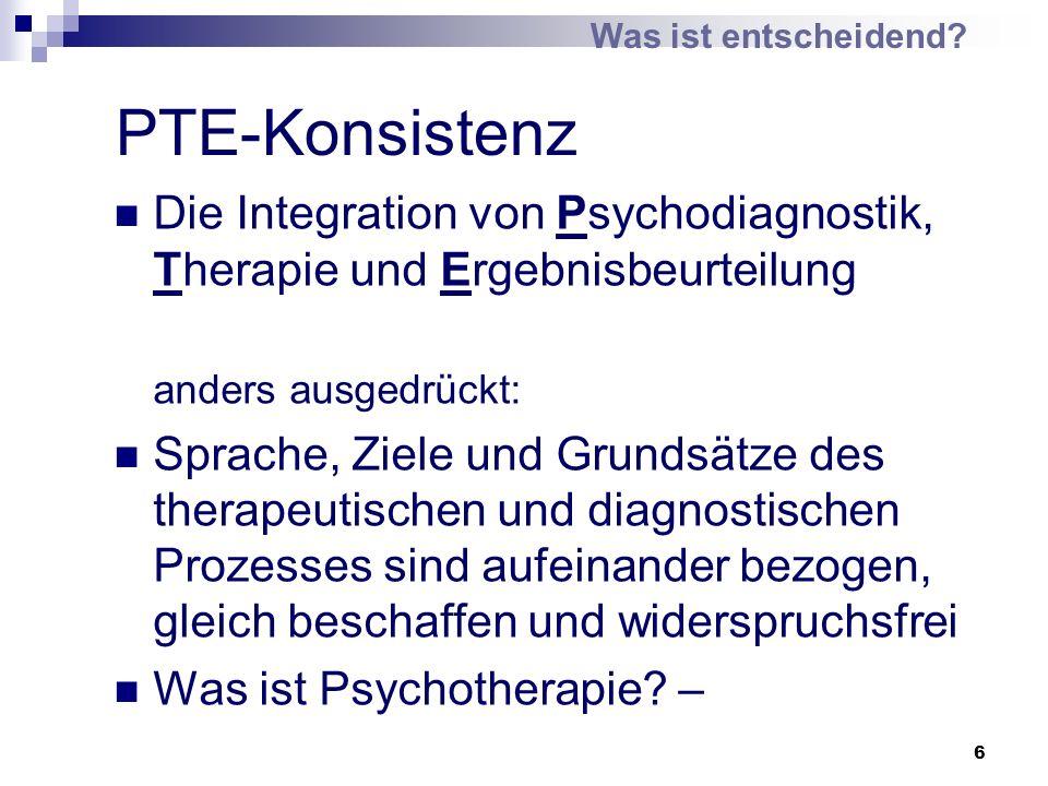 6 PTE-Konsistenz Die Integration von Psychodiagnostik, Therapie und Ergebnisbeurteilung anders ausgedrückt: Sprache, Ziele und Grundsätze des therapeu