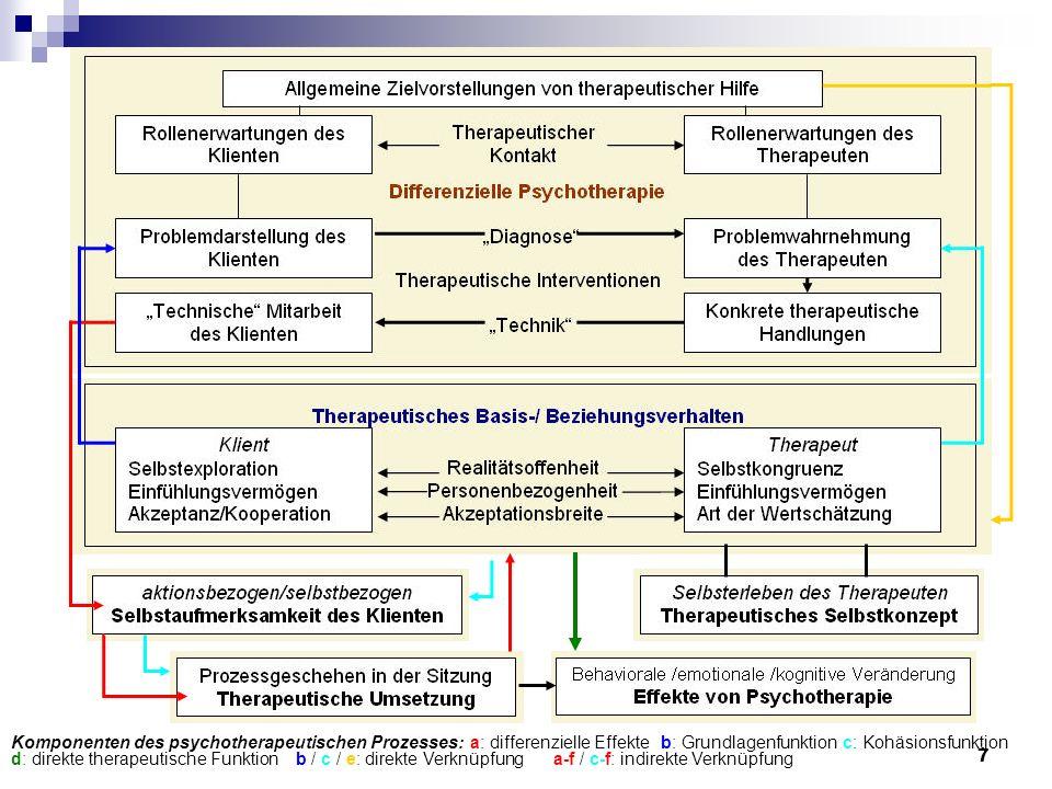 7 Komponenten des psychotherapeutischen Prozesses:a: differenzielle Effekteb: Grundlagenfunktionc: Kohäsionsfunktion d: direkte therapeutische Funktio