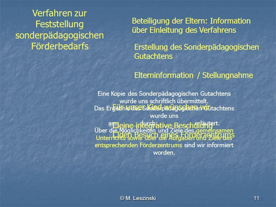 © M. Leszinski11 Verfahren zur Feststellung sonderpädagogischen Förderbedarfs Erstellung des Sonderpädagogischen Gutachtens Elterninformation Beteilig