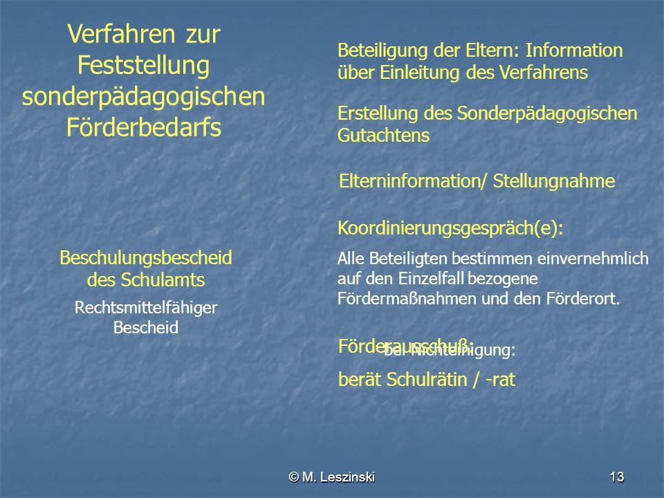 © M. Leszinski13 Verfahren zur Feststellung sonderpädagogischen Förderbedarfs Erstellung des Sonderpädagogischen Gutachtens Elterninformation Beteilig