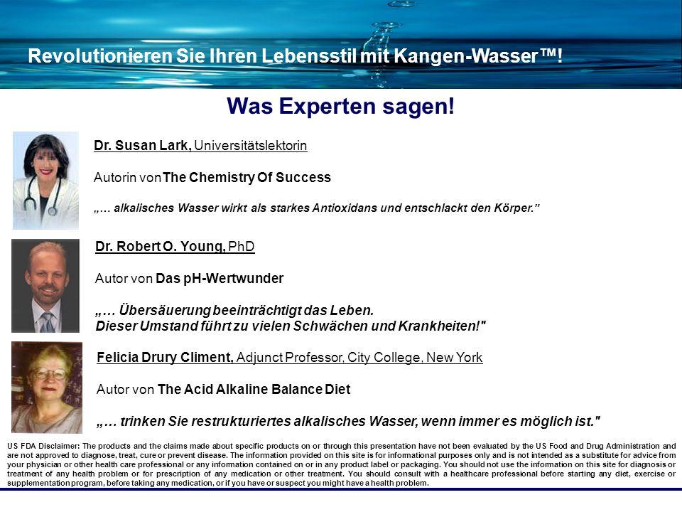 Revolutionieren Sie Ihren Lebensstil mit Kangen-Wasser! Was Experten sagen! US FDA Disclaimer: The products and the claims made about specific product