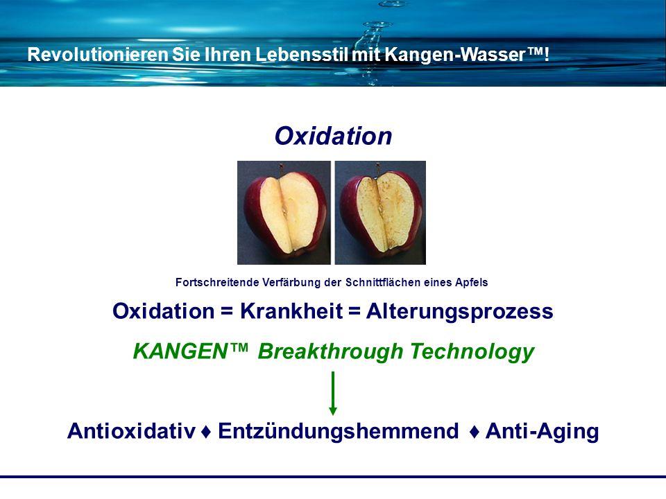 Revolutionieren Sie Ihren Lebensstil mit Kangen-Wasser! Oxidation Oxidation = Krankheit = Alterungsprozess KANGEN Breakthrough Technology Antioxidativ