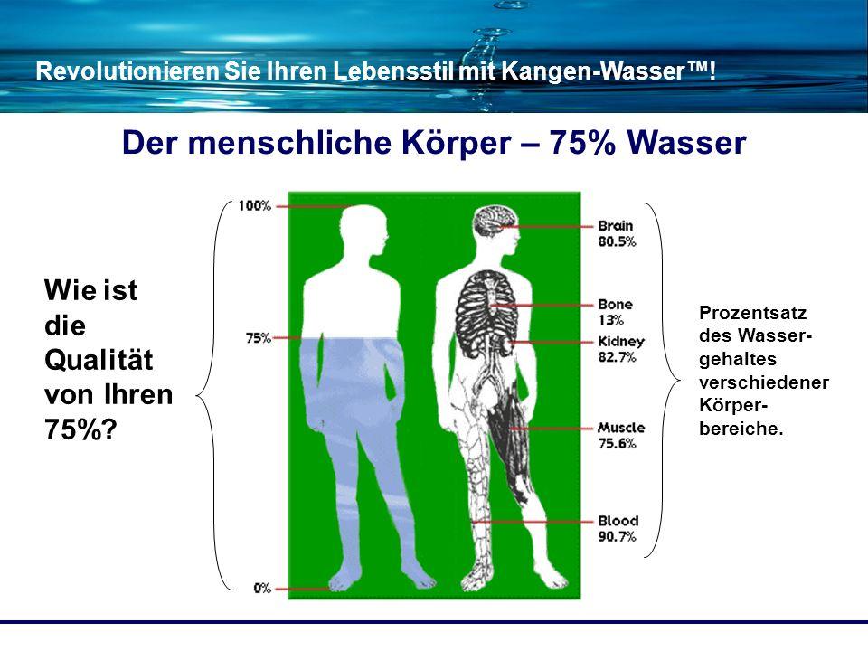 Revolutionieren Sie Ihren Lebensstil mit Kangen-Wasser! Der menschliche Körper – 75% Wasser Prozentsatz des Wasser- gehaltes verschiedener Körper- ber