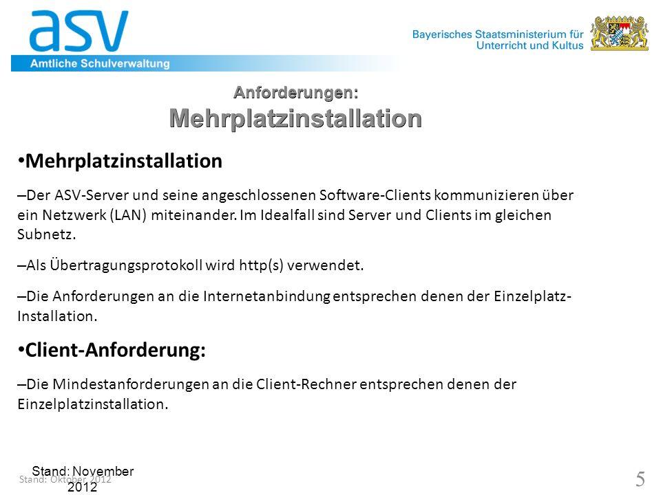 Stand: November 2012 6 Anforderungen: Mehrplatzinstallation – Server Anforderungen an den Server einer Mehrplatzinstallation Software: – Betriebssystem: Linux (OpenSuSE 10) oder Windows Server (2003 bzw.