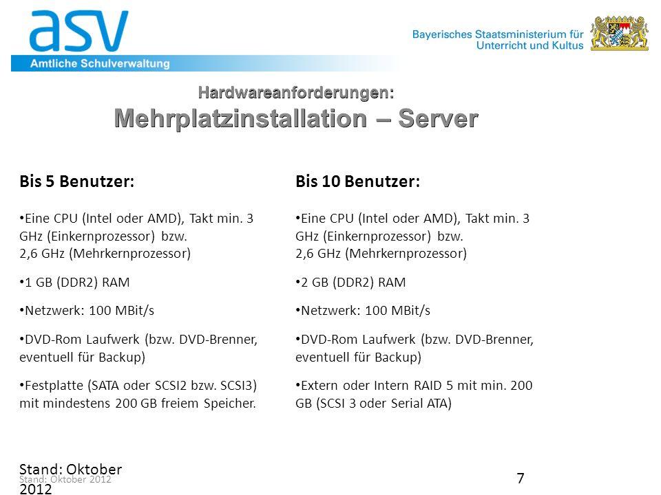 7 Hardwareanforderungen: Mehrplatzinstallation – Server Bis 5 Benutzer: Eine CPU (Intel oder AMD), Takt min.
