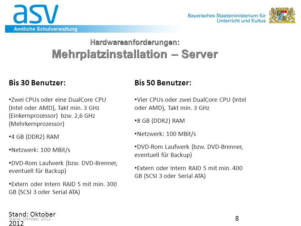 Stand: November 2012 9 Hardwareanforderungen: Mehrplatzinstallation – Server Sehr kleine Mehrplatzinstallationen: Bei kleinen ASV-Installationen mit bis zu drei gleichzeitigen Benutzern ist es auch denkbar, einen der Clientrechner gleichzeitig als Server zu verwenden.