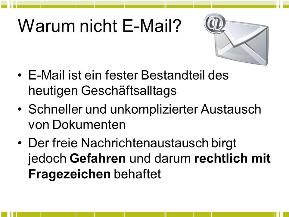 Warum nicht E-Mail? E-Mail ist ein fester Bestandteil des heutigen Geschäftsalltags Schneller und unkomplizierter Austausch von Dokumenten Der freie N