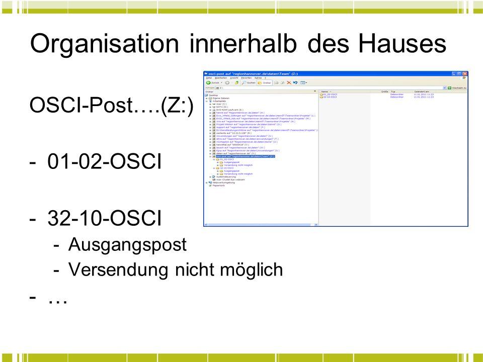 Organisation innerhalb des Hauses OSCI-Post….(Z:) -01-02-OSCI -32-10-OSCI -Ausgangspost -Versendung nicht möglich -…