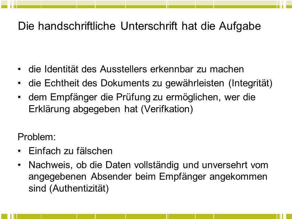 Die handschriftliche Unterschrift hat die Aufgabe die Identität des Ausstellers erkennbar zu machen die Echtheit des Dokuments zu gewährleisten (Integ