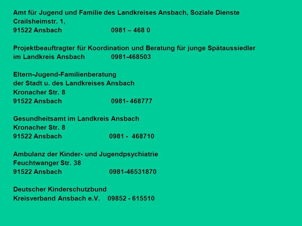 Amt für Jugend und Familie des Landkreises Ansbach, Soziale Dienste Crailsheimstr.