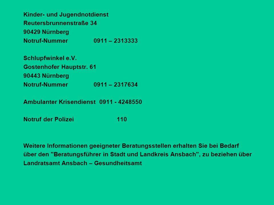 Kinder- und Jugendnotdienst Reutersbrunnenstraße 34 90429 Nürnberg Notruf-Nummer 0911 – 2313333 Schlupfwinkel e.V.